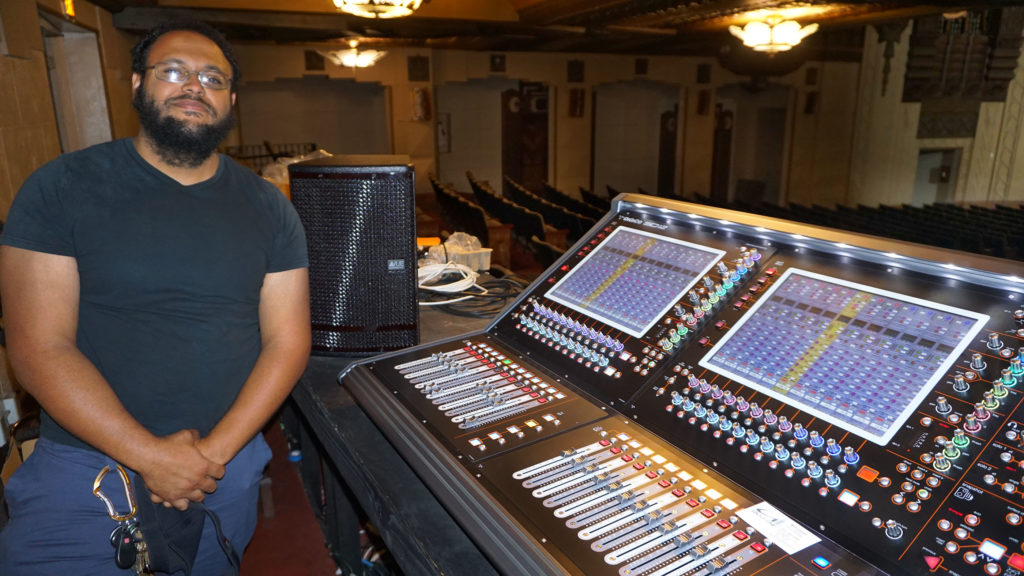 Warner Grand Theatre Master Electrician and FOH Engineer Victor Prudeaux at the venue's new DiGiCo SD12 console