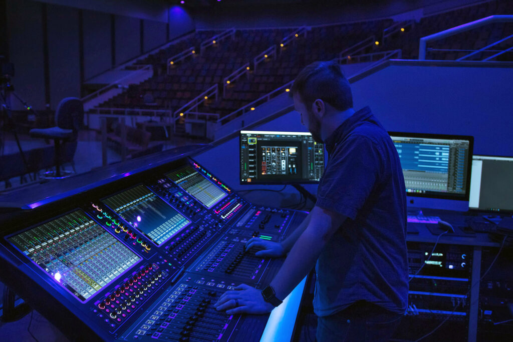 Chase Oaks Church Production Technology Director Paul Mitchell at one of the church's two new DiGiCo Quantum338 consoles