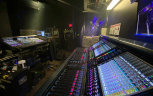 iHeartRadio Theater's new DiGiCo Quantum338 console (right) and Usher's own Quantum7 (left) in monitor world at the tenth annual iHeartRadio Music Festival