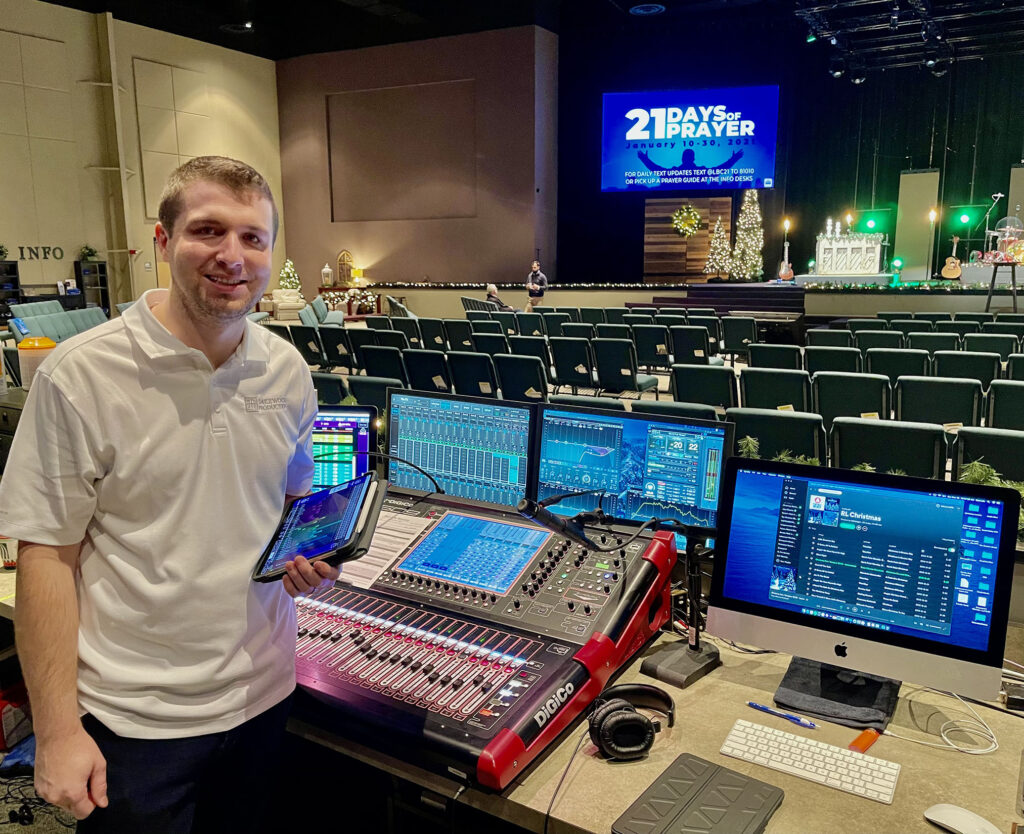 Technical Director Coltyn Cooley at Lakewood Baptist Church's house mix position with a tablet running KLANG:app