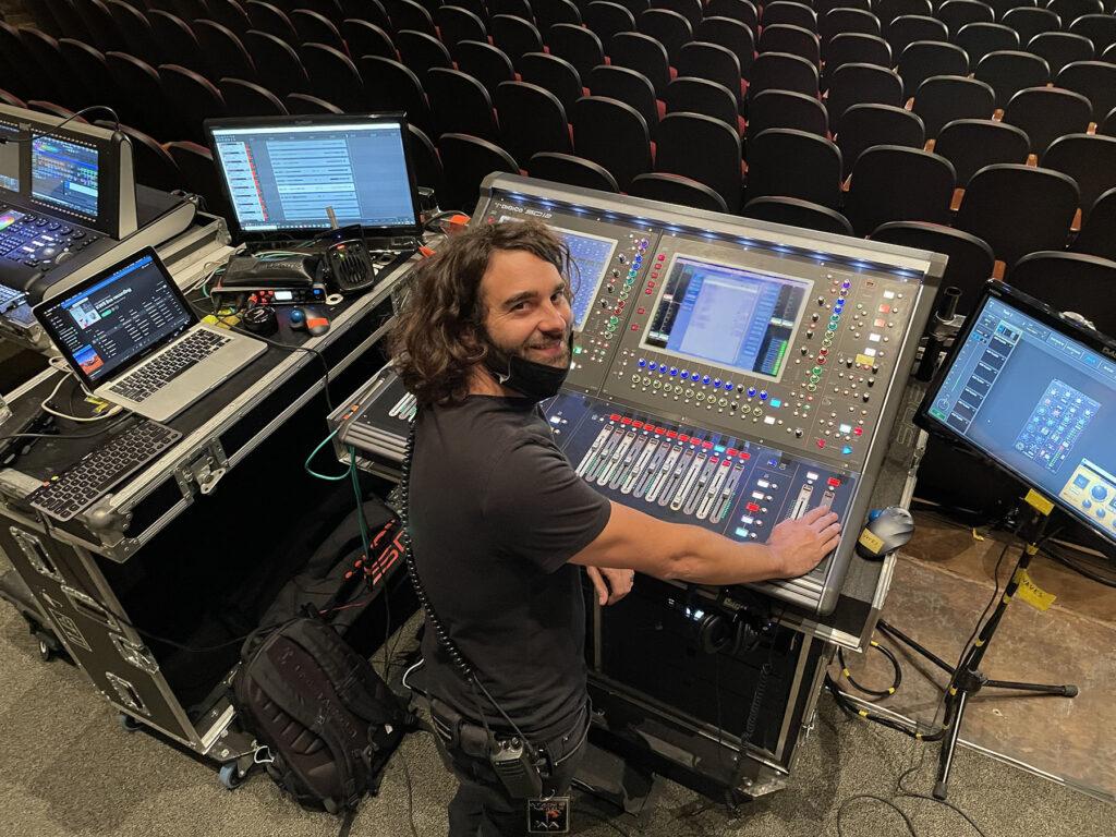 FOH Engineer Daniel Ellis at the SD12 96 desk on Kim Walker-Smith's tour
