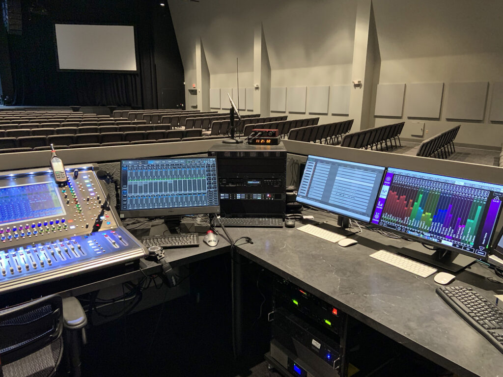 The DiGiCo SD12 mixing console (left) and KLANG:app shown on a PC (right) at Gateway Prosper's FOH mix position