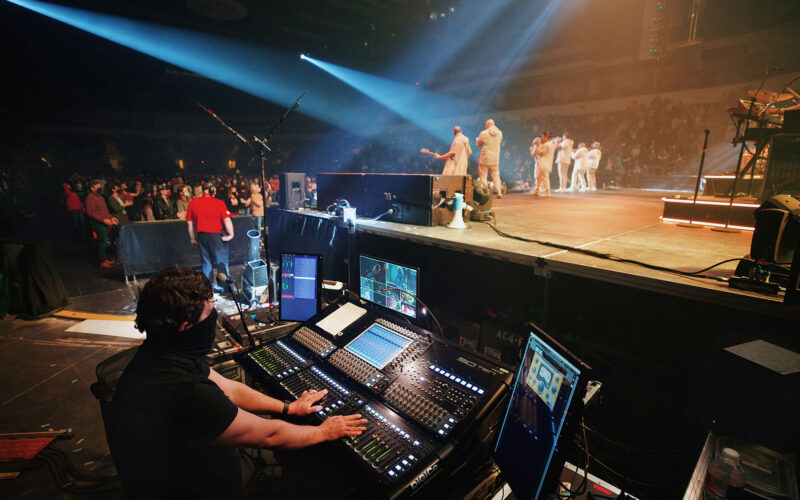 Heath Mahon manning TobyMac's monitor mix on a DiGiCo SD10