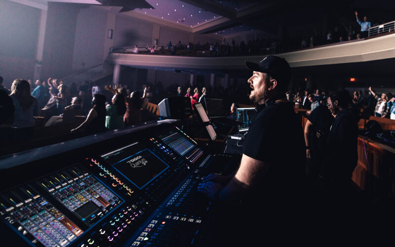 The Blessing USA Tour Production Manager Brenton Miles is running FOH sound, IEMs for the band, and ten VIP group mixes all from a single DiGiCo Quantum338 console, which was supplied by Spectrum Sound (photo credit: Nate Black)