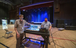 Oaks Christian School's Jonathan Hagberg (left) and David Alexander (right) with the new DiGiCo S21 digital console in the school's Bedrosian Pavilion