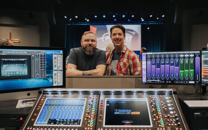 Watkinsville First Baptist Church Production Director Matt Hellems (left) and Worship Pastor Jason Dominey pictured with the DiGiCo SD12 96 console and computer screen displaying KLANG:app (right)